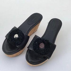 Coach Jazmin Cork Platform Wedge Sandals 6.5